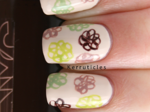 Day 12: pattern in your home - messy flowers, using OPI My Vampire Is Buff, NYC Midtown Mink, Model's Own Nude Beige, Essie Navigate Her and Barry M Lime Green