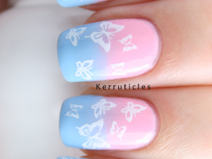 Pregnancy infant loss pink blue butterfly nails nails