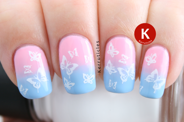 Pregnancy infant loss pink blue butterfly nails