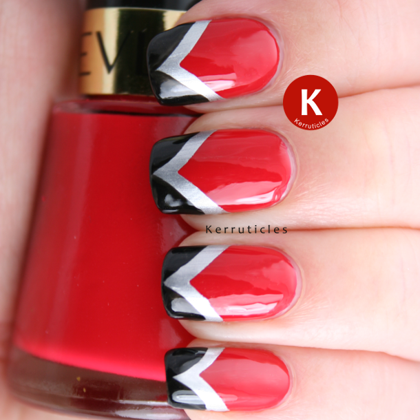 Red black and silver fishtail nails IG