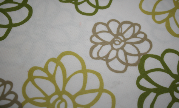 Brown green beige vinyl tablecloth swirly flowers