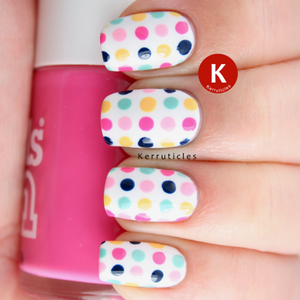 Multi coloured dots nails
