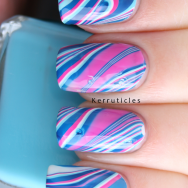 Barry M Fuchsia Turquoise Blackberry watermarble nails