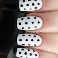 Black and white polka dots nails