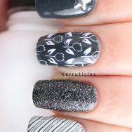 Cashmere Bathrobe grey black white skittle manicure nails