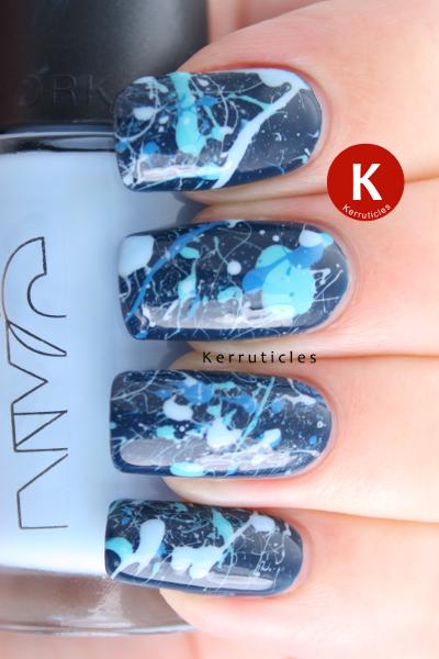 Chanel Magic blue splatter nails