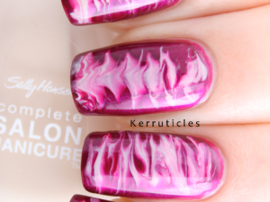 Maybelline Berry Fusion and Sally Hansen Mousseline needle drag nails