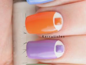 Multi-coloured half moon studs nails