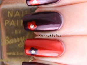 OPI Oktoberfest Deutsch flower accent nails