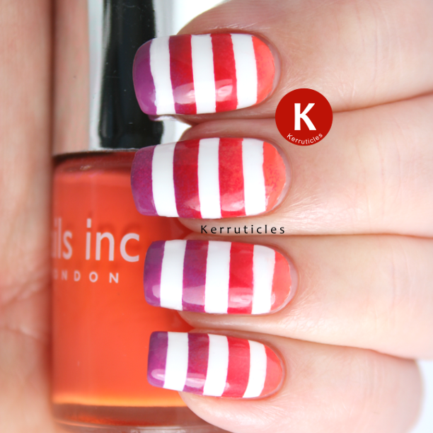 Orange red purple gradient with white stripes nails