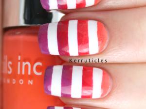 Orange red purple gradient with white stripes nails