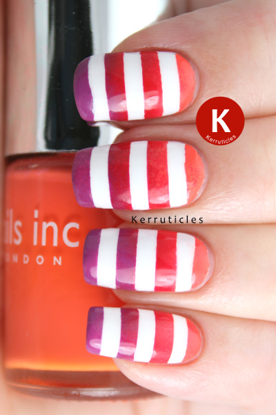 Orange red purple gradient nails with white stripes