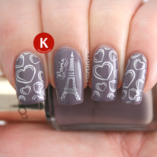 Paris Eiffel Tower and hearts stamping manicure