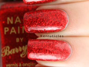 Barry M Red Glitter nails