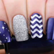 Blue silver skittlette nails L'Oreal Mystic Blue 2True Christy zig zags nails