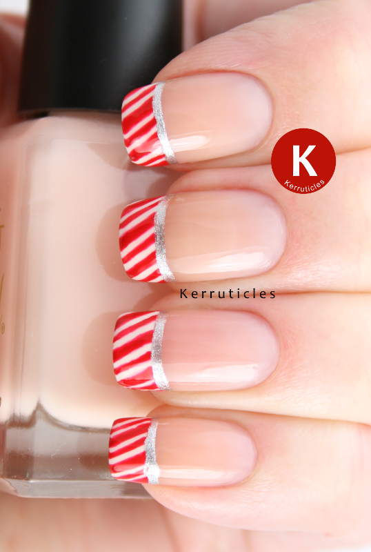 Candy cane French tips manicure