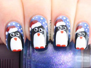 Christmas penguin nails over SpaRitual Intellect
