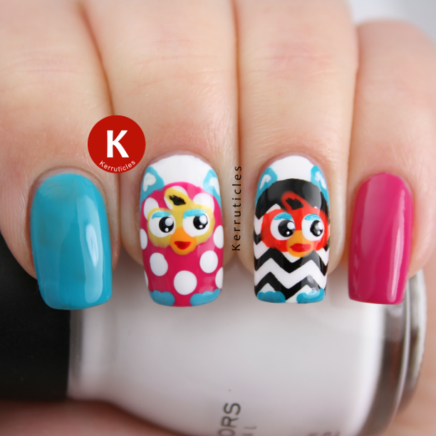 Furby manicure nails