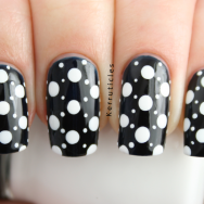 L'Oreal Midnight Mistress white dots nails