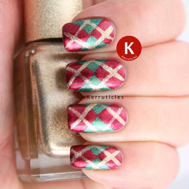 Red gold green Christmas Argyle manicure nails