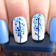 Winter nature blue dotted trees nails