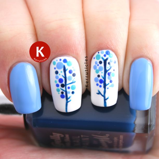Winter nature blue trees nails IG