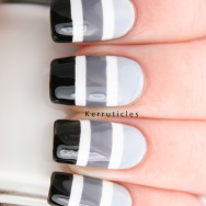Black grey white gradient stripes nails