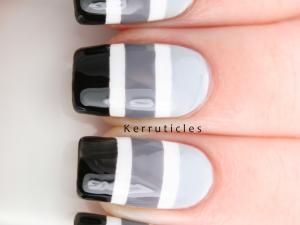 Black grey white gradient stripes nails