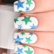 Blue and green sparkle stars nails