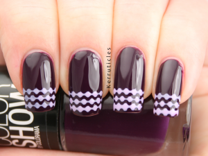 Maybelline Noite de Gal stencil French tips Ciate Sugar Plum SMART Nails