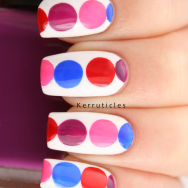Pink red purple blue geometric circles nails