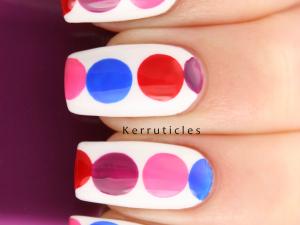 Pink red purple blue geometric circles nails