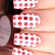 Red and coral dotted gradient nails