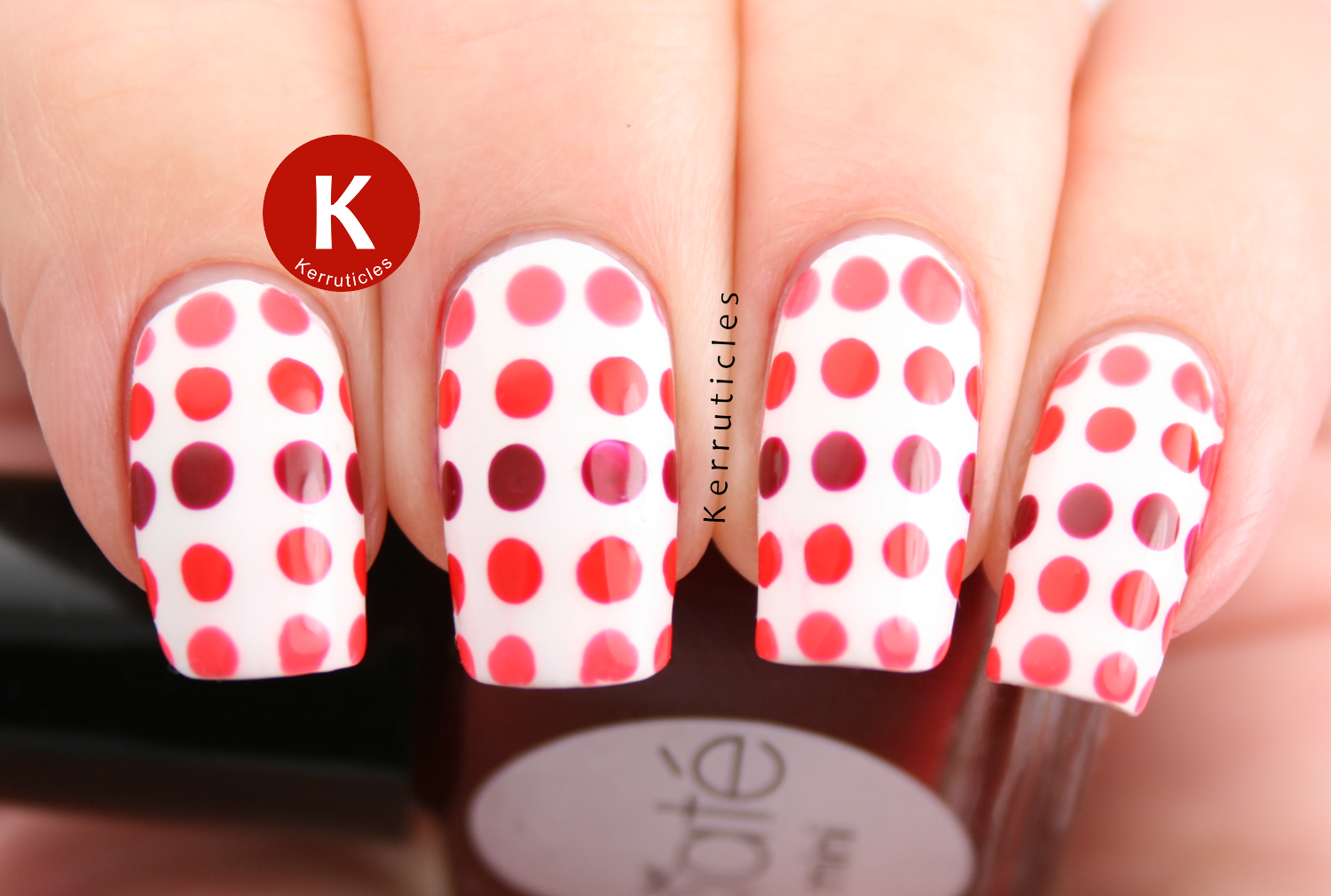 Red and coral dotted gradient Ciate polish