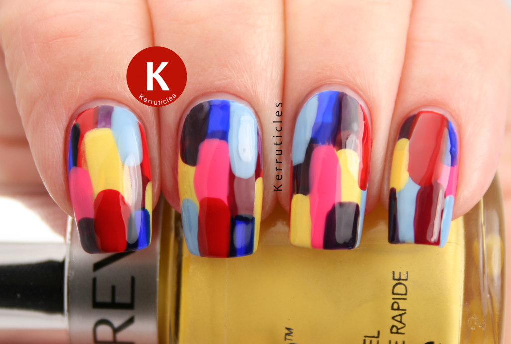 Abstract Revlon Multi-Coloured Elmer manicure