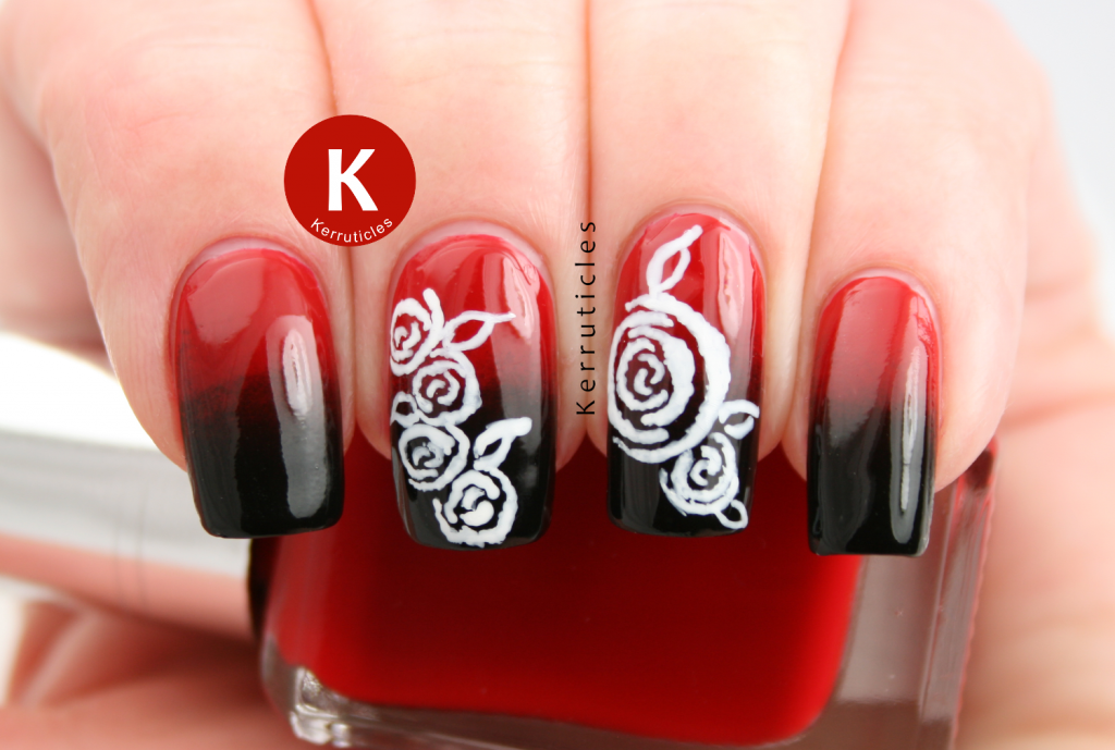 Black red gradient white roses