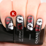 Chanel Cosmic with red and silver stamped kisses
