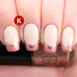 Cream peach and gold chevron French tips