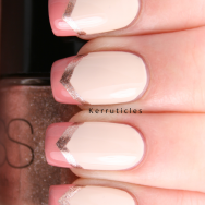 Cream peach and gold chevron French tips nails