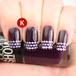 Maybelline Noite de Gal stencil French tips Ciate Sugar Plum