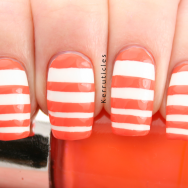 Orange white stripes Nails Inc Porchester Place nails