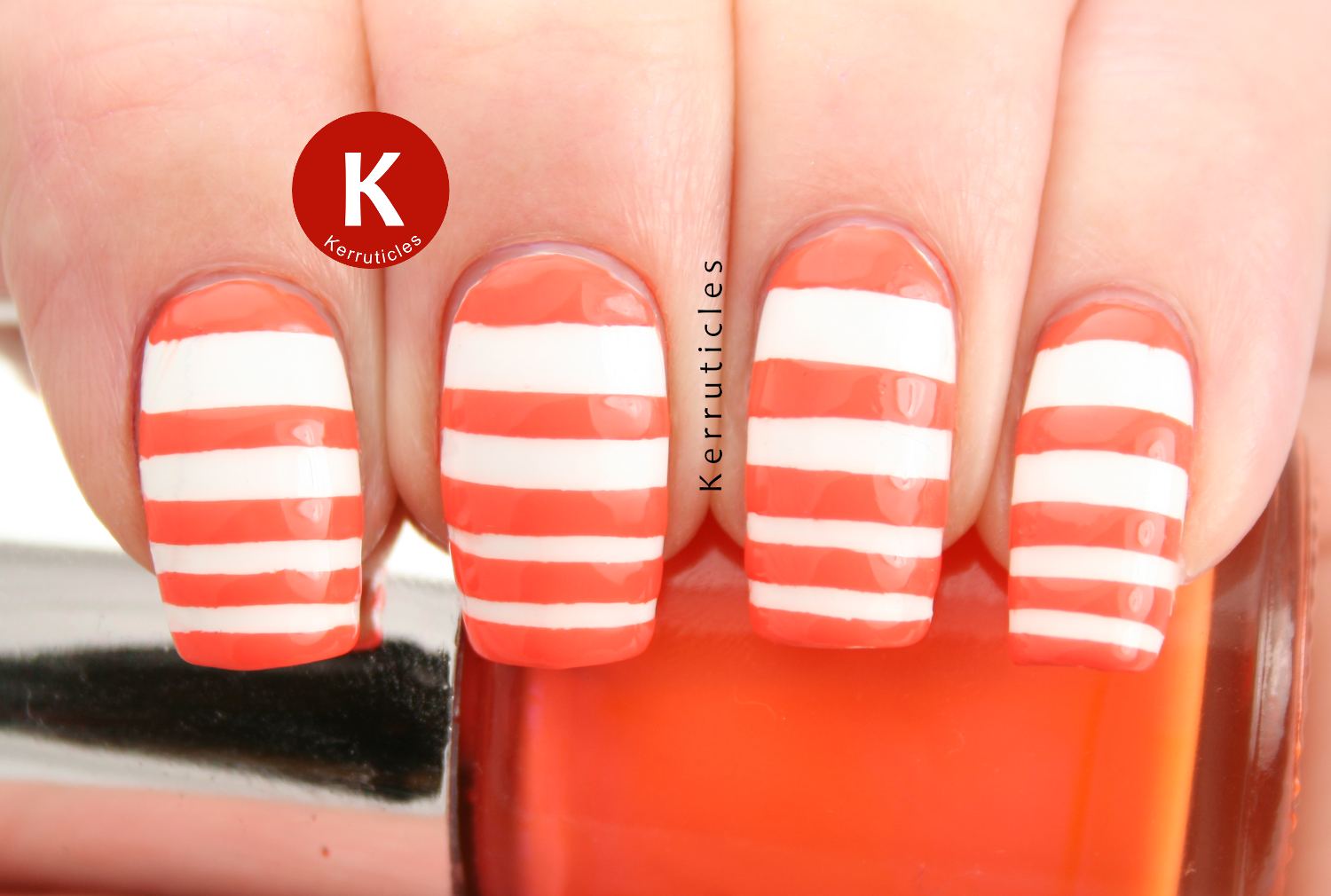 Orange white stripes Nails Inc Porchester Place