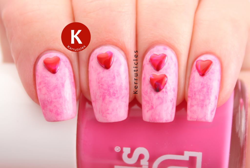 Pink Cling film saran wrap with red heart studs