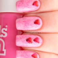 Pink Cling film saran wrap with red heart studs nails