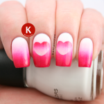 Pink and white reverse gradient hearts