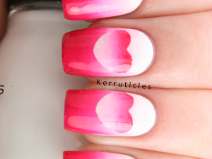 Pink and white reverse gradient hearts nails