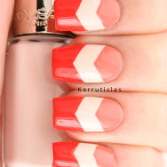 Pink, peach and orange chevrons using Barry M Papaya, L'Oreal Peach Negligé and Barry M Satsuma