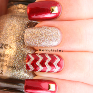 Red gold skittlette Perceval I'm Not Lion zig zags nails