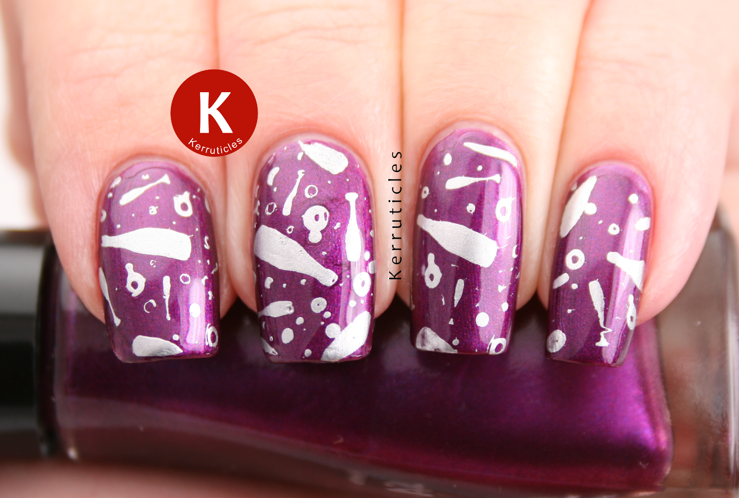 Sally Hansen Pronto Purple stamped with Cheeky CH9 champagne glasses