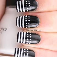 Dots stripes black white nails